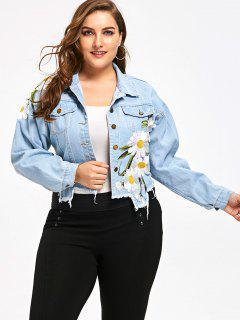 Plus Size Floral Applique Denim Short Jacket - Denim Blue 5xl