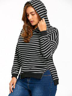 Plus Size Zip Sides Striped Hoodie - Blue Stripe 3xl