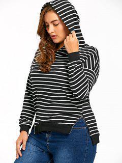 Plus Size Zip Sides Striped Hoodie - Blue Stripe 5xl