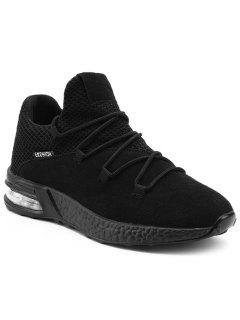 Mesh Breathable Criss Cross Athletic Shoes - Black 40