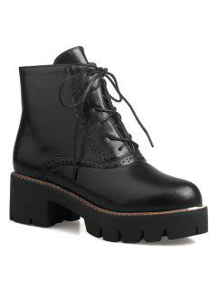 High Heel Side Zip Short Boots - Black 37