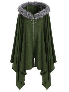 Asymmetric Faux Fur Panel Plus Size Cape Coat - Army Green 5xl