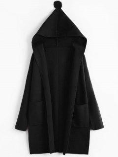 Pompom Hooded Cardigan With Pockets - Black