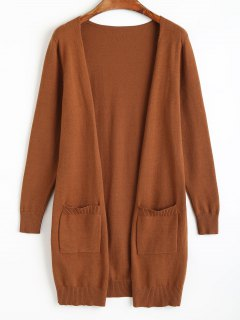 Knit Open Front Cradigan With Pockets - Light Brown