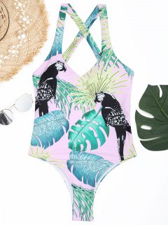 Leaf Strappy High Cut Swimsuit - Pink M