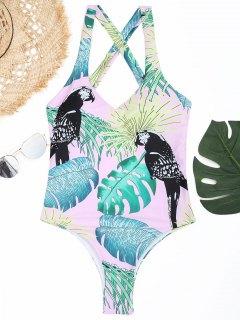 Leaf Strappy - Hoch Geschnittener Badeanzug - Pink S