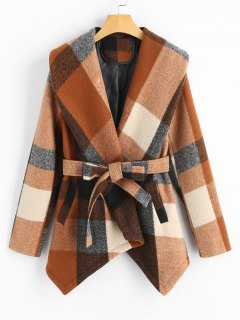 Belted Wool Blend Plaid Coat - Checked M