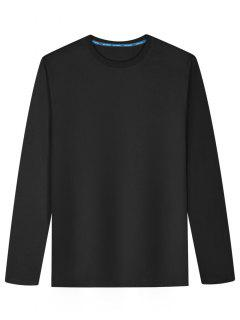 Long Sleeve Cotton Blend T Shirt - Black 2xl