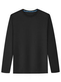 Long Sleeve Cotton Blend T Shirt - Black L