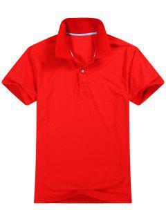 Chemise Polo à Manches Courtes En Coton Mélangé - Rouge M