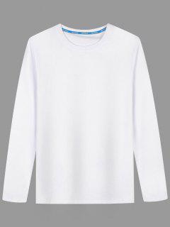 Long Sleeve Cotton Blend T Shirt - White 2xl