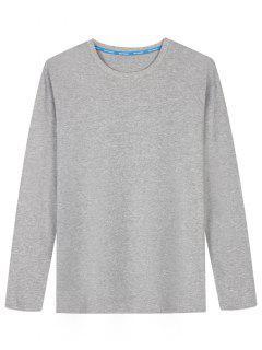 T-shirt En Coton Mélangé à Manches Longues - Gris Xl