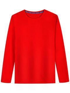 T-shirt En Coton Mélangé à Manches Longues - Rouge L