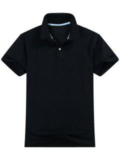 Cotton Blend Short Sleeve Polo Shirt - Black L