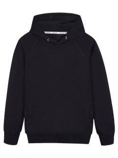 Pullover Raglan Sleeve Hoodie - Black 4xl