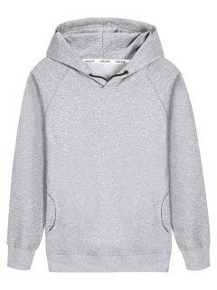 Pullover Raglan Sleeve Hoodie - Gray L