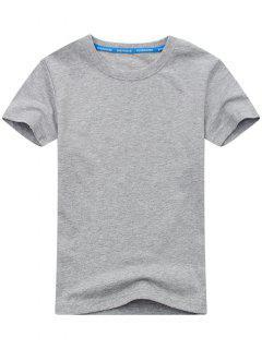 T-shirt à Manches Courtes En Coton Mélangé - Gris L