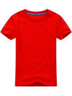 T-shirt à Manches Courtes En Coton Mélangé - Rouge 3xl