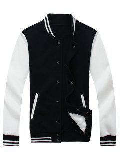 Color Block Baseball Jacket - Black 2xl