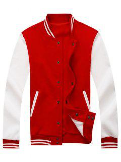 Color Block Baseball Jacket - Red L