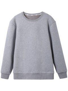 Crew Neck Wool Blend Sweatshirt - Gray L