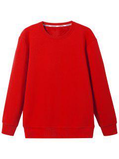 Crew Neck Wool Blend Sweatshirt - Red L