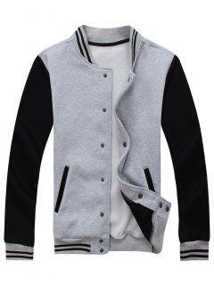 Color Block Baseball Jacket - Gray M