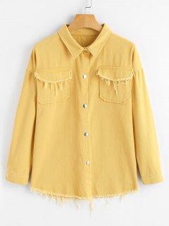 Button Up Frayed Denim Mustard Jacket - Mustard L