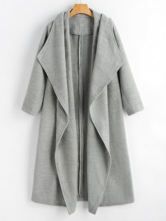 Wool Blend Shawl Collar Waterfall Coat - Gray S