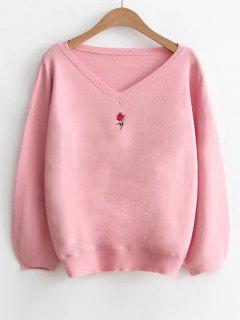 Lantern Sleeve Embroidered V Neck Sweater - Pink