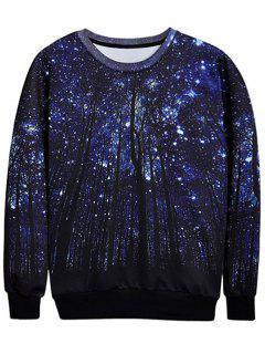 Trees Print Crew Neck Sweatshirt - Deep Blue L