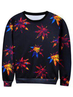 Crew Neck Leaves Print Sweatshirt - Black L