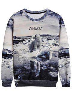 Bear Graphic Crew Neck Sweatshirt - L