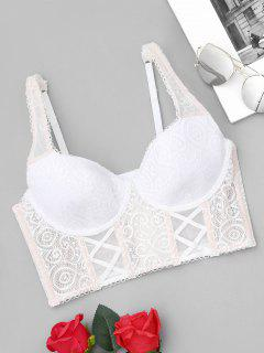 Underwire Push Up Lace Longline Bra - White M