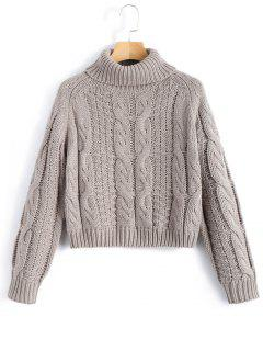 Turtleneck Cropped Cable Knit Sweater - Gray L