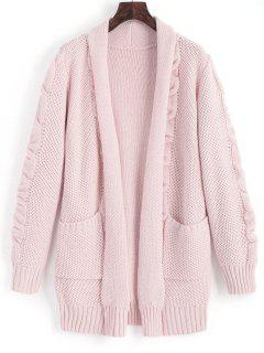 Shawl Collar Cable Knit Cardigan - Pink L