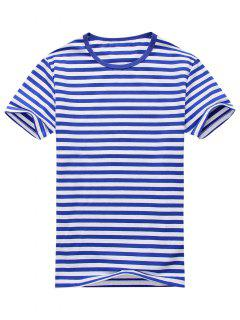 Cotton Blend Striped Short Sleeve Tee - Blue And White L