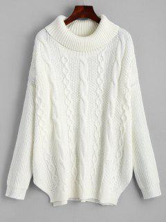 Oversized Turtleneck Cable Knit Sweater - White