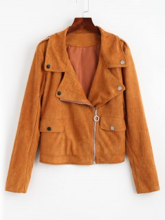 Zip Up Biker Faux Suede Jacket - Light Brown M