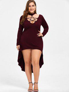 Halloween Plus Size Lace Up Cocktail Dress - Dark Red 3xl