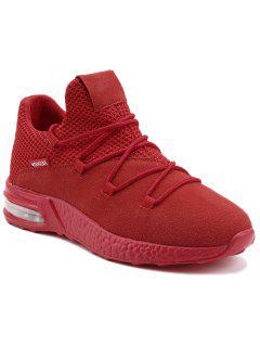 Mesh Breathable Criss Cross Athletic Shoes - Red 40
