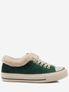 Low Heel Faux Fur Skate Shoes - Green 39