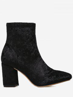 Almond Toe Chunky Heel Velvet Boots - Black 38