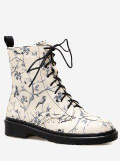 Birds Floral Printed Lace Up Ankle Boots - Black 40