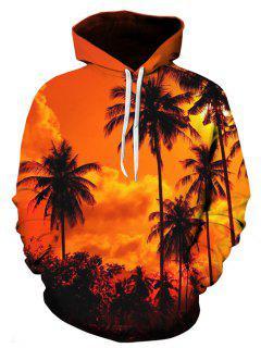 Hooded 3D Hawaiian Trees Print Pullover Hoodie - 3xl