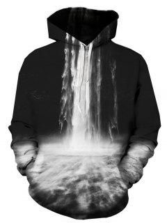 Hooded 3D Falls Print Pullover Hoodie - 3xl
