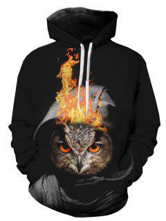 Hooded 3D Owl Flame Print Pullover Hoodie - L