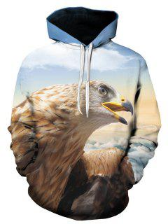 Hooded 3D Eagle Print Pullover Hoodie - L