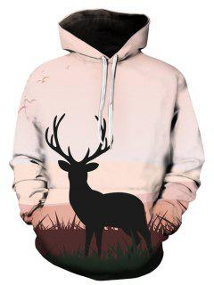 Hooded 3D Elk Print Pullover Hoodie - Xl