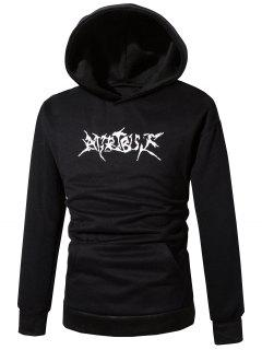 Hooded Pouch Pocket Graphic Print Pullover Hoodie - Black S